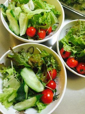 「今日のサラダ☆サニーレタスと貝割れに真っ赤なトマト」シンプルな定番系野菜サラダです。食卓にグリーンのメニューはかかせませんね!ドレッシングではなくアマニオイルと岩塩でいただきまーっす☆【楽天レシピ】