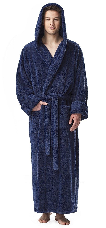 Men/'s Fleece Robe Long Hooded Bathrobe Sleepwear