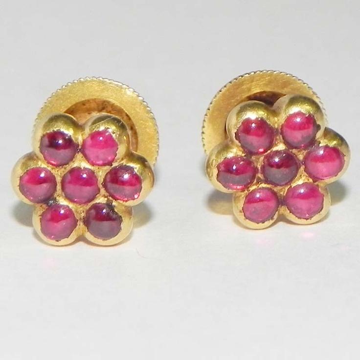 Tamil Nadu- traditional pattern, 7 stone ruby earrings