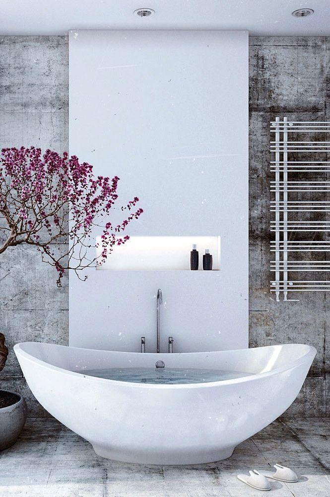 nicho em coluna banheira moderna