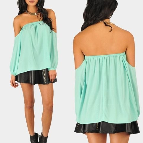 Scarlet Off The Shoulder Blouse- Mint from Model Fashions on Storenvy