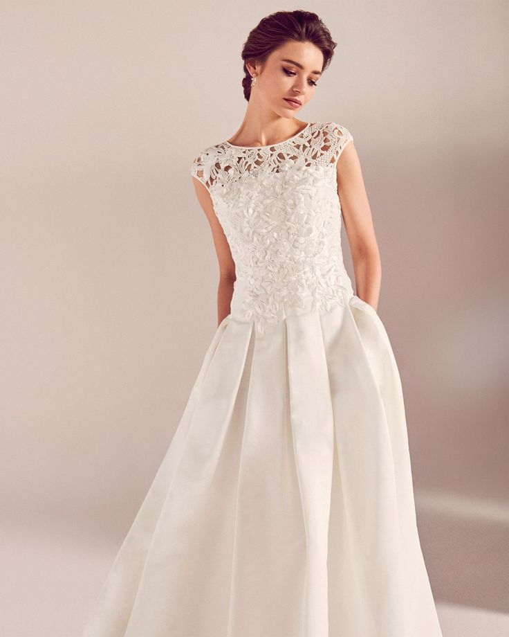Embroidered applique bodice wedding dress - White   SS17 Tie The Knot   Ted Baker UK #WedwithTed @tedbaker