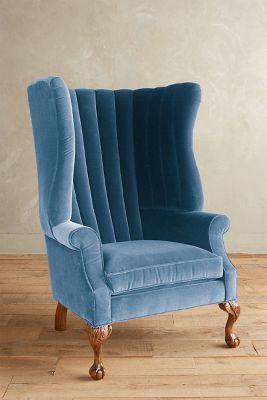 Anthropologie Velvet English Fireside Chair #AnthroFave