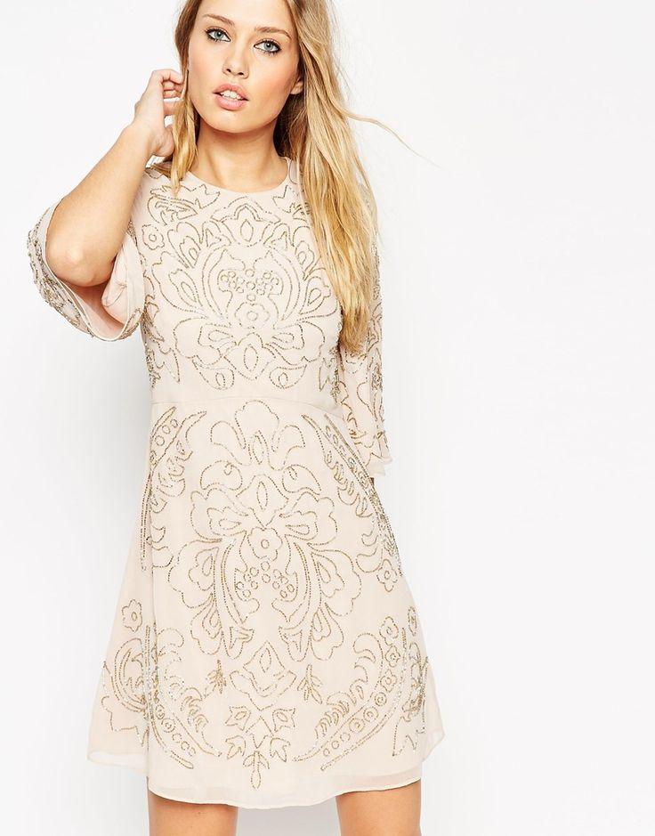 Needle & Thread Embellished Fleur Fluted Sleeve Dress