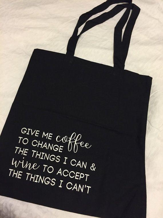 Give me coffee give me wine tote bag reusable by ElvaandJune
