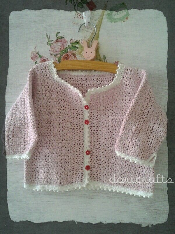 Crocheted baby cardigan. Made from Indonesia soft cotton yarn