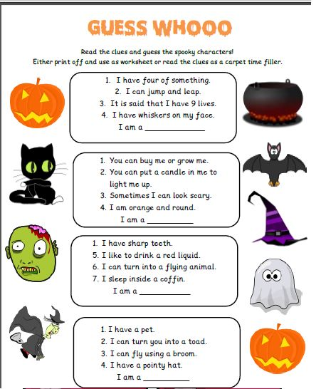 Free halloween resource  This pack includes trick or treat cards, word searches, halloween bingo and some other little activities for your class.   This is the 'guess whooo' activity   - repinned by @PediaStaff – Please Visit ht.ly/63sNtfor all our ped therapy, school psych, school nursing & special ed pin