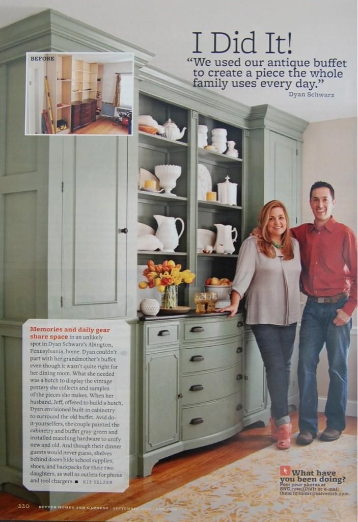 Build a built in installation around an old buffet or dresser.