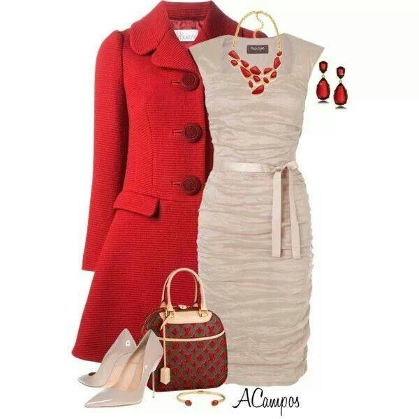 Color Combo Red Winter Coat And Tan Dress Shoes