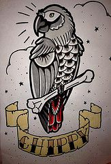 Chippy (paintbones) Tags: old school tattoo grey design african flash parrot skool chippy maclean eilidh