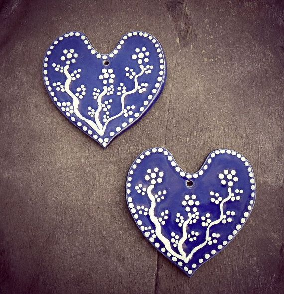 Blue Heart Ceramic Valentines Day Hearts Set of 2 Ornaments