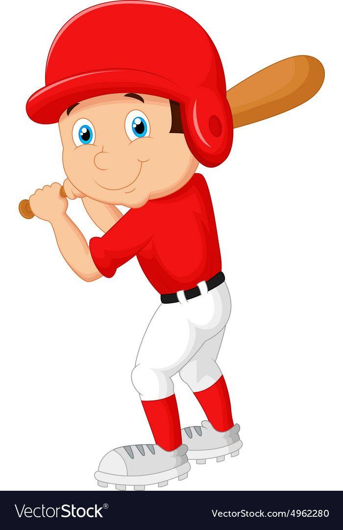 Cartoon Boy Playing Baseball Vector Image On Vectorstock Cartoon Boy Baseball Vector Boys Playing