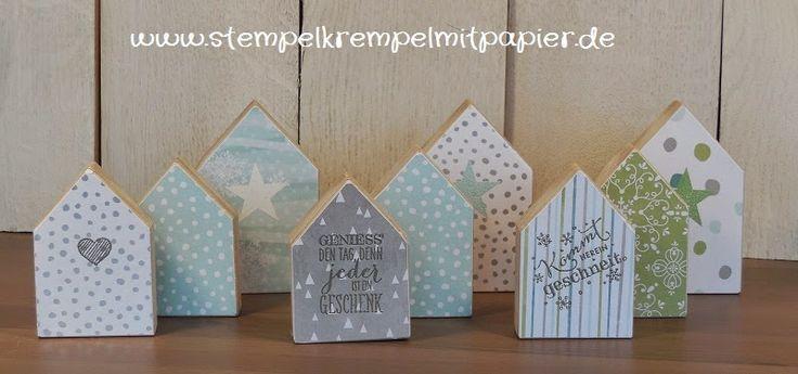 Stempelkrempel mit Papier : Winterhäuser aus Holz mit Designerpapier von Stampin`Up!