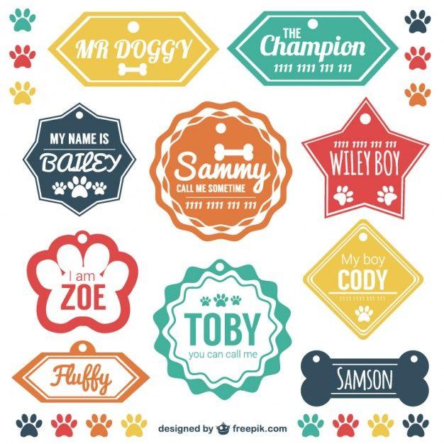 Etiquetas nombres de mascotas Vector Gratis