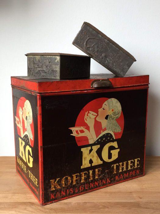 Kanis & Gunnink Kampen koffie - thee winkelblik + Ysendyk Rotterdam - Zwolle koffie en thee blik + Niemeyer's tabak blik