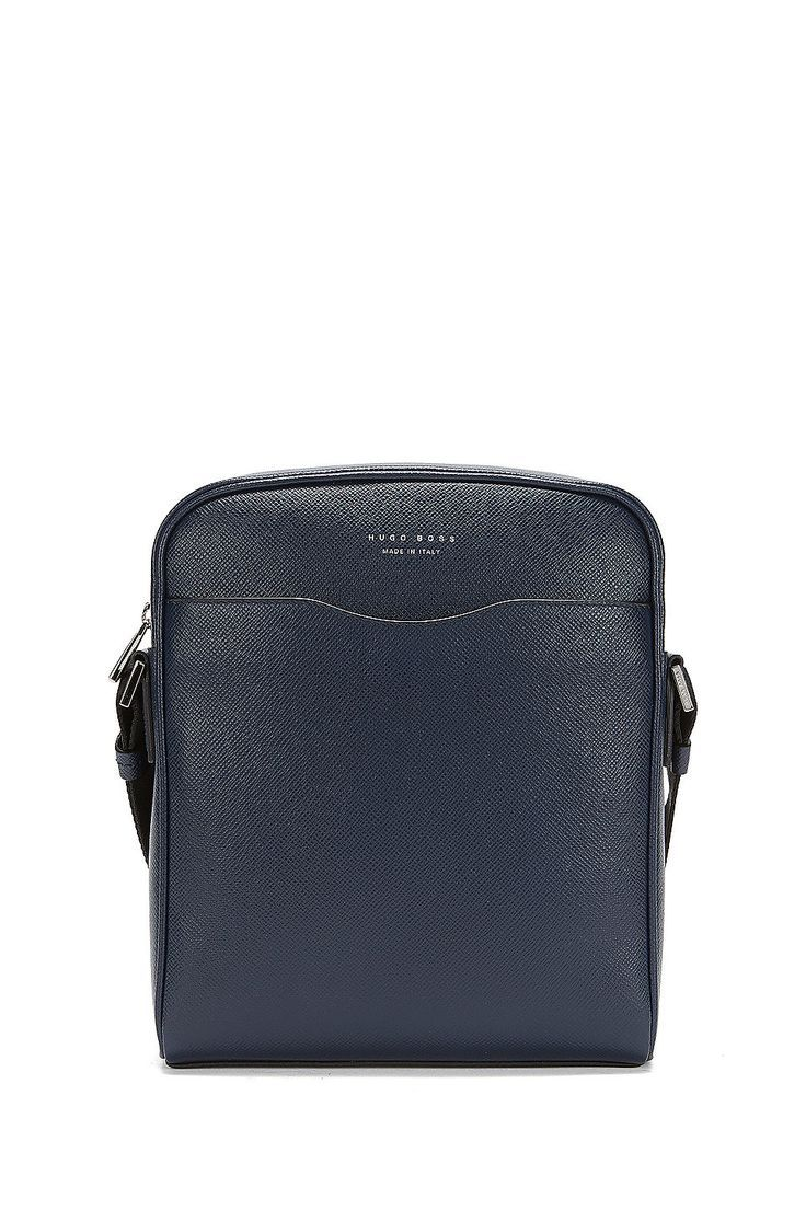 6f09be6cfbe5 HUGO BOSS Signature Collection reporter bag in palmellato leather - Dark  Blue Reporter bags from BOSS