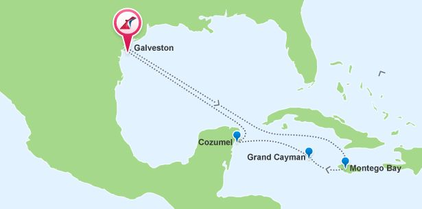 Cruises from Galveston, TX to Western Caribbean - Cruise Ports Itinerary