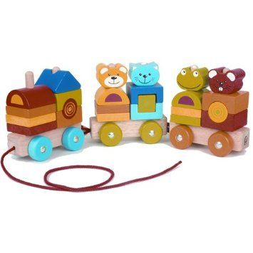 Pintoy Four Friends Pull Along Wooden Stacking Train: Amazon.co.uk: Toys & Games