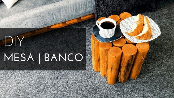 DIY banco de tronco ou mesinha de centro