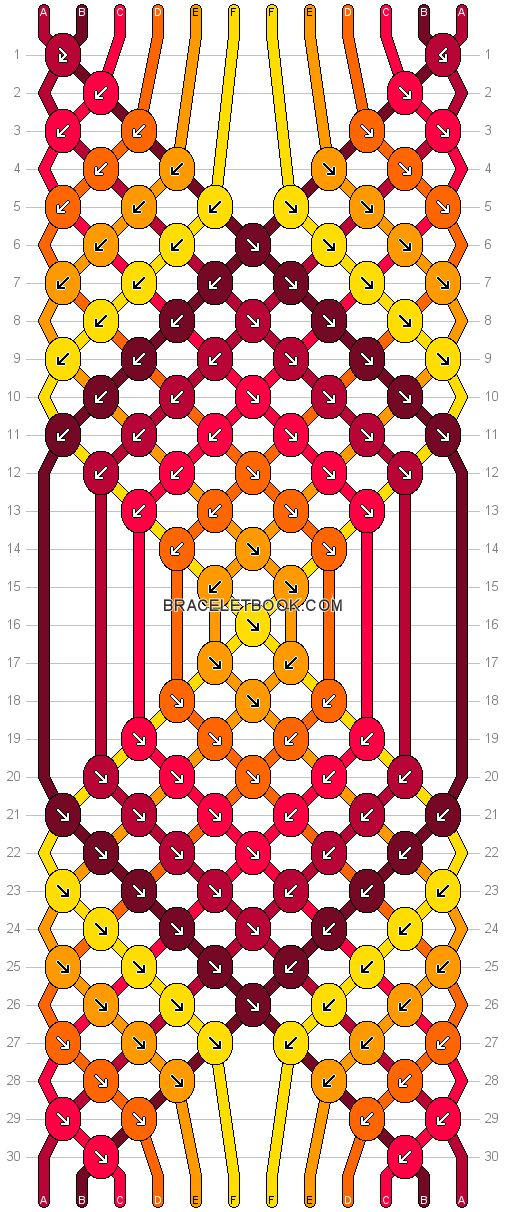 Friendship bracelet Pattern 16614 - 12 strings, 6 colours