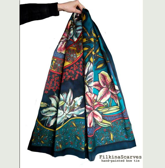 Hand Painted Silk Scarf Navy Red Petroleum Lilies Paisley Boho