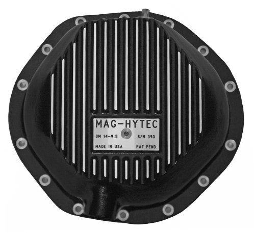 """Mag-Hytec Rear Differential Cover Semi Floating Axle GM 1980 to present 2500, 3500, trucks, vans, suburban and more w/ 14-9.5 axle. Overall height 3 5/8"""". Includes: Bolt kit, Drain Plug and Dip Stick. Must check to confirm Semi Floating Axle. Ring gear bulge on drivers side of center. Capacity: 5 Quarts."""