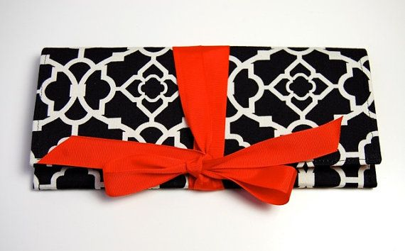 Shoply.com -the ALEXIS Clutch in black and white lattice with red. Only $45.00