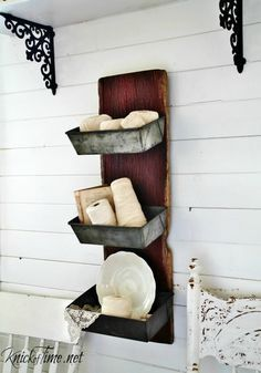 Salvaged Barn Wood and Bread Loaf Pans Wall Bins - KnickofTime.net                                                                                                                                                                                 More