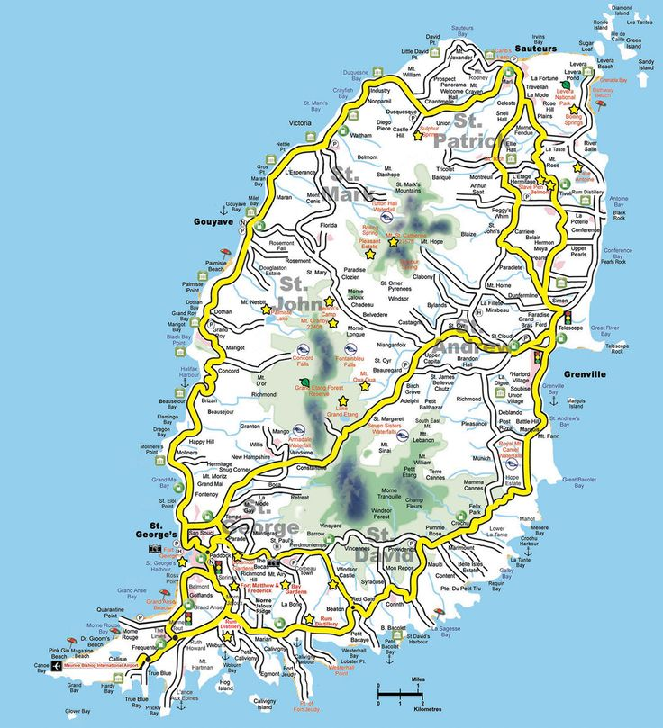 Grenada Map, Map of Grenada, Interactive Road Map with parishes, attractions, Waterfalls - Detailed Map of Island, Karte