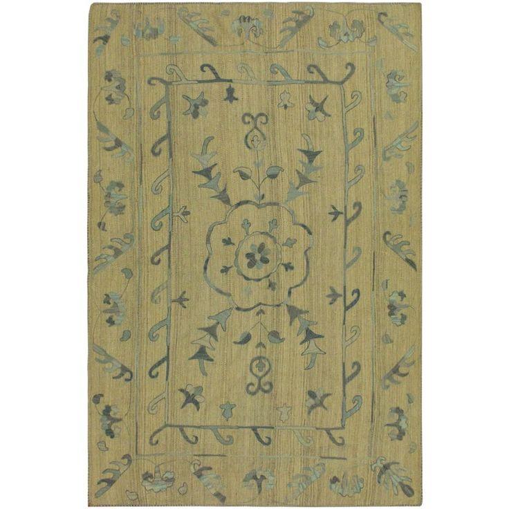 Tribal Embroidered Ikat Kilim Cooks Gray/Blue Wool Rug- 5'10 X 7'10