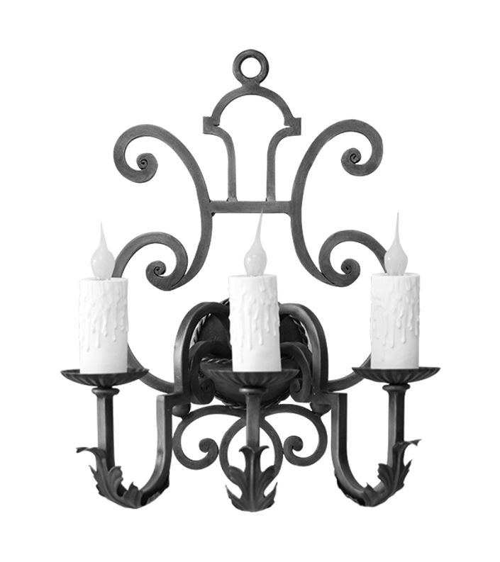 Hand Forged Iron Triple Wall Sconce Design By Www.haciendalights.com Part  Of Our