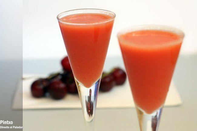 Receta de gazpacho de cerezas con fotos del paso a paso y presentación. Con trucos y consejos