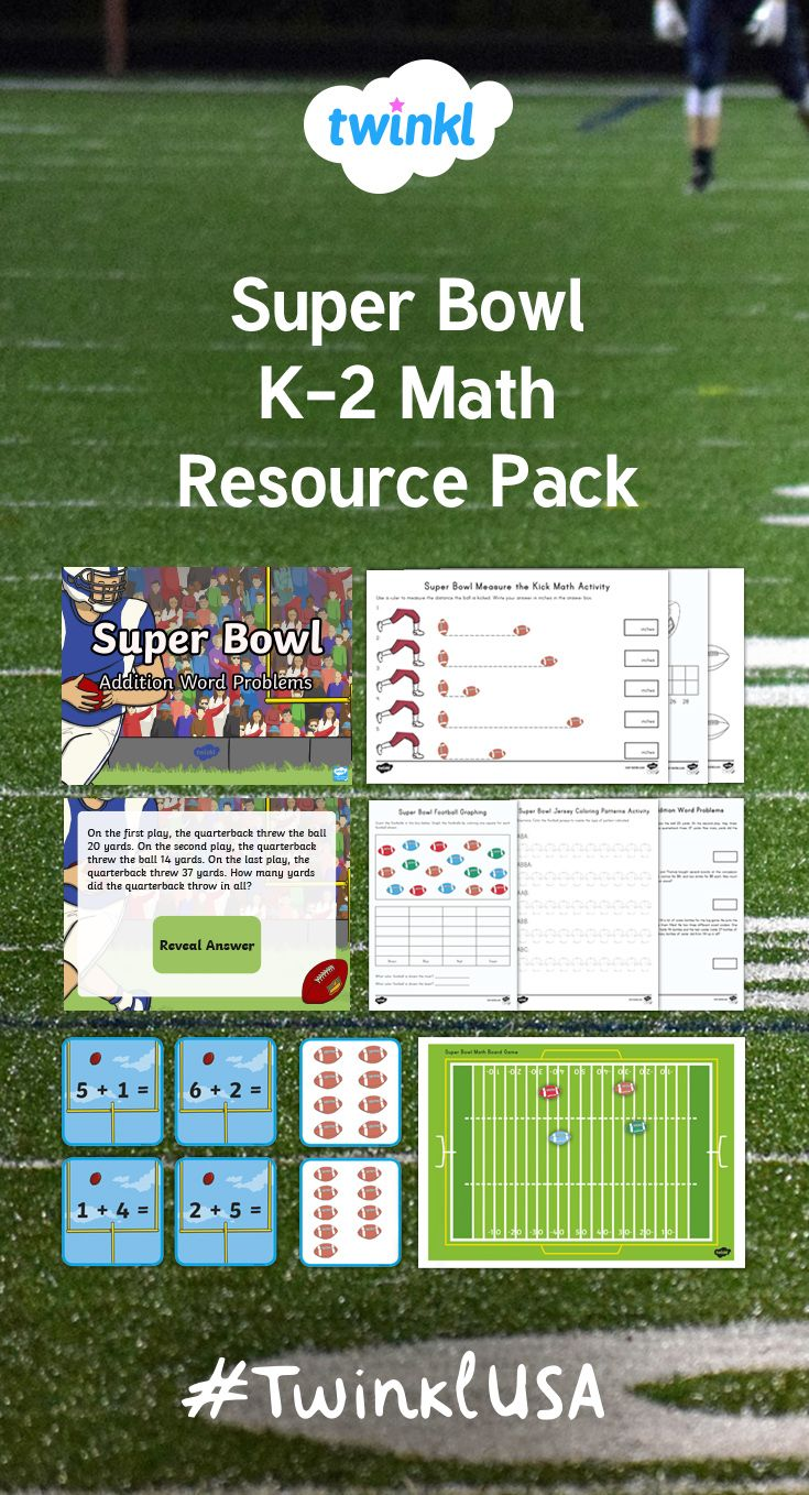 This Fantastic Pack Contains Our Super Bowl Themed Resources Perfect For Your Kindergarten Super Bowl Math Activities Addition Word Problems Math Resources [ 1358 x 735 Pixel ]