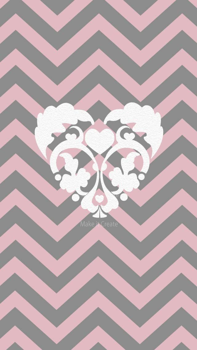 HEART ON CHEVRON, IPHONE WALLPAPER BACKGROUND
