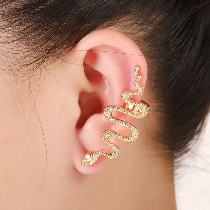 1 Piece Hot Charm Women's Cool Snake Shaped Single Gold& Silver Plated Sided No Pierced Ear Clip pendientes Jewelry