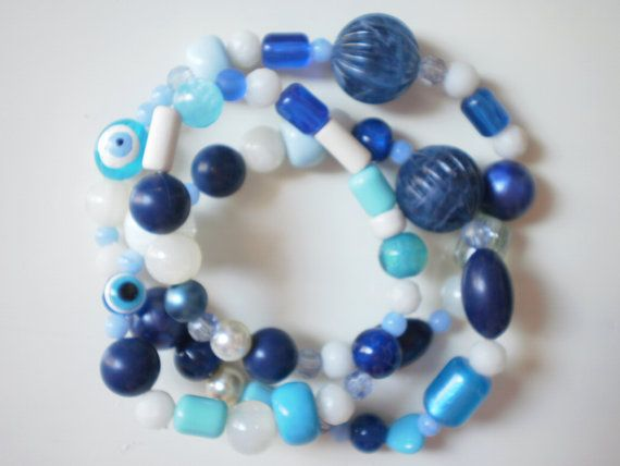 blue necklace Free combined shipping by KaterinakiJewelry on Etsy, $10.00