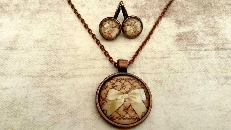 Medaillon kettingen - Handgemaakte ketting Strik met oorbellen - Een uniek product van Tracy-Jewels op DaWanda