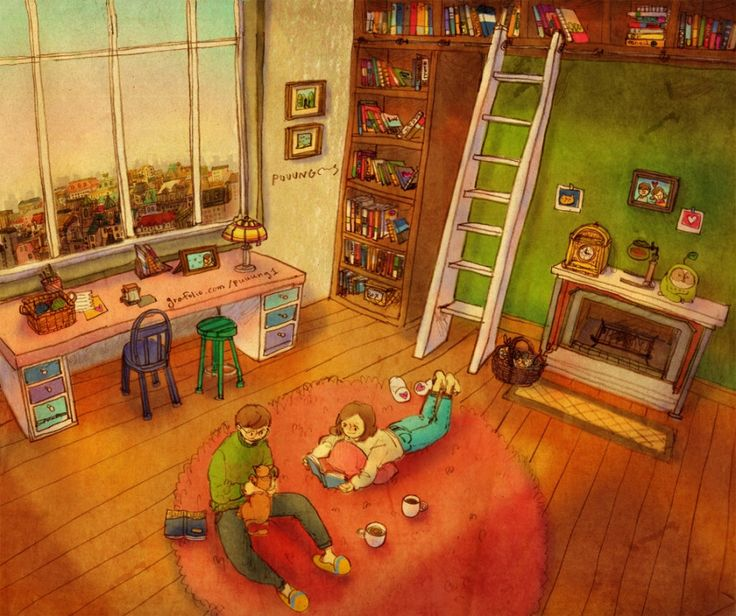 ♥ EARLY MORNING: Relaxing idly at home…♥ by Puuung at http://www.grafolio.com/illustration/128522 ♥