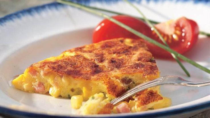 Ham and Corn Frittata Recipe (Gluten Free) recipe and reviews - Love hearty breakfasts? Whip up a frittata. You just mix the eggs and all the extras, like cheese and veggies, and cook them in a skillet.