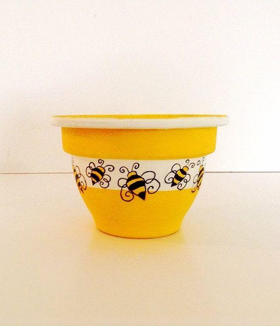Hand Painted Clay Pot, Painted Pot, Garden, Plant Pot, Indoor, Outdoor, Terra Cotta Pot, Spring Decor, Birthday, Gift Idea - HONEY BEE