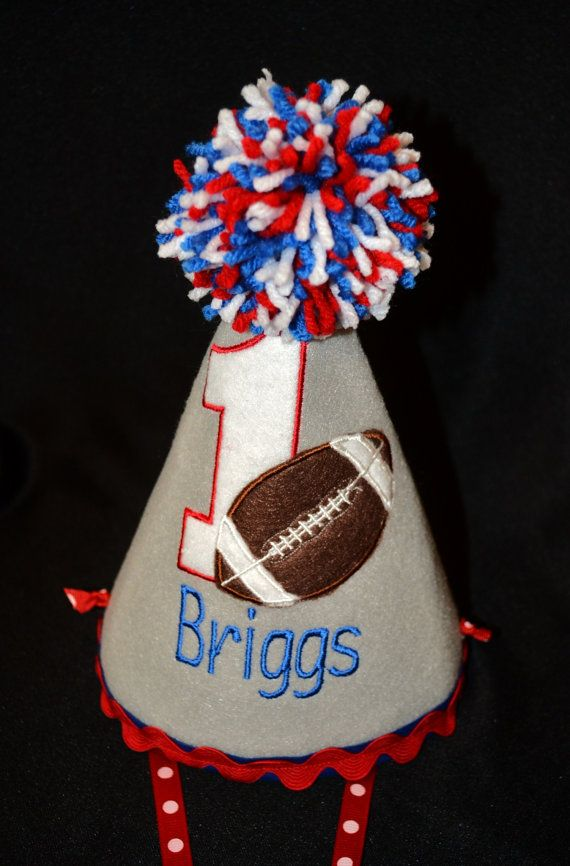 Football 1st First Birthday Party Hat Red by sunshinedaydream4u, $25.95