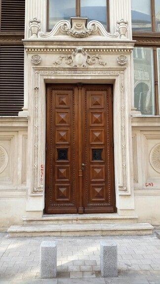 Solid, massive wooden door.