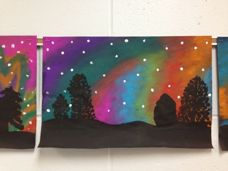Northern Lights, 5th or. 6th grade art:
