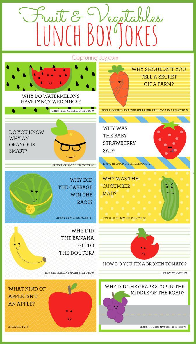 Fruit and Vegetables Lunch Box Jokes for your kids! Free printables on Capturing-Joy.com: