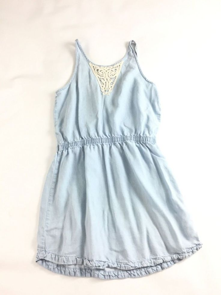 H&M Young Girl Sleeveless Romper Dress Sky Blue Front Lace size 14y + #HM