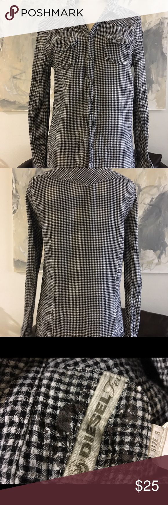 Diesel Western Gingham Checkered Black White S Vguc Diesel Tops Button Down Shirts