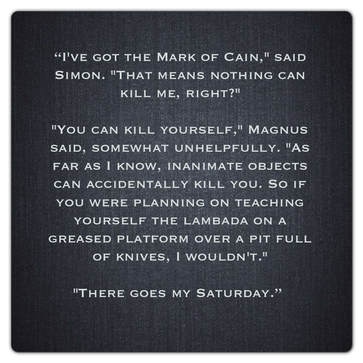 Magnus Bane and Simon Lewis (City of Lost Souls ~ Mortal Instruments) Quote