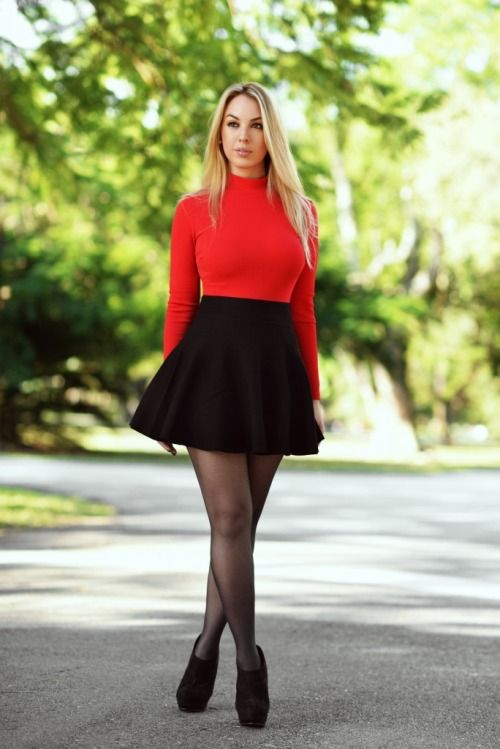 Short black skirt with red top | fashion inspiration | Pinterest ...