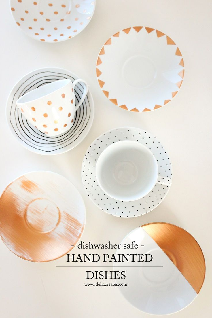 In order to help you with decorating plain white plates, we found these ten gorgeous ideas. There is watercolor, geometry, polka dots… Something for everyone! #Painting #DIY