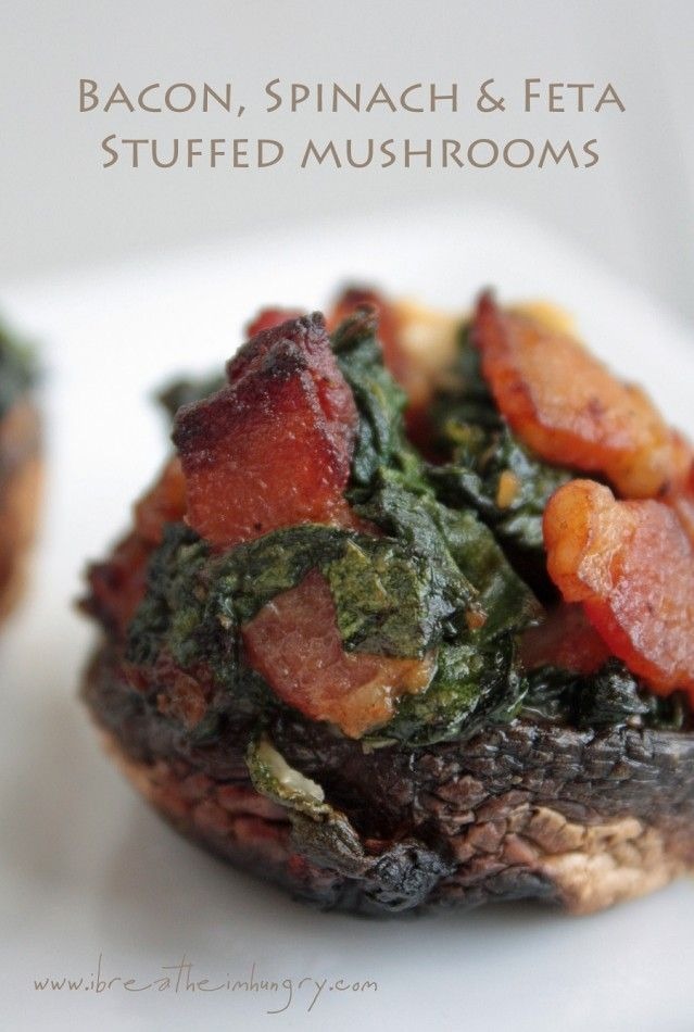 Bacon Spinach and Feta Stuffed Mushrooms (low carb and gluten free) - ibreatheimhungry.com